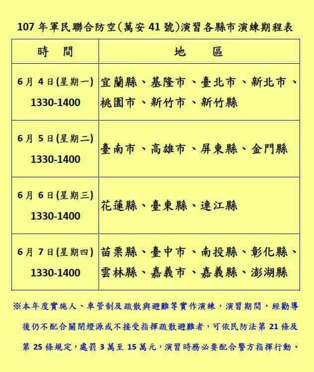 107年台東萬安演習~臺東縣107年軍民聯合防空(萬安41號)演習
